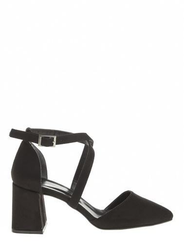 Derigo Derigo 7193 Kalın Topuk Süet Suni Deri Süet Kadın Sandalet Siyah